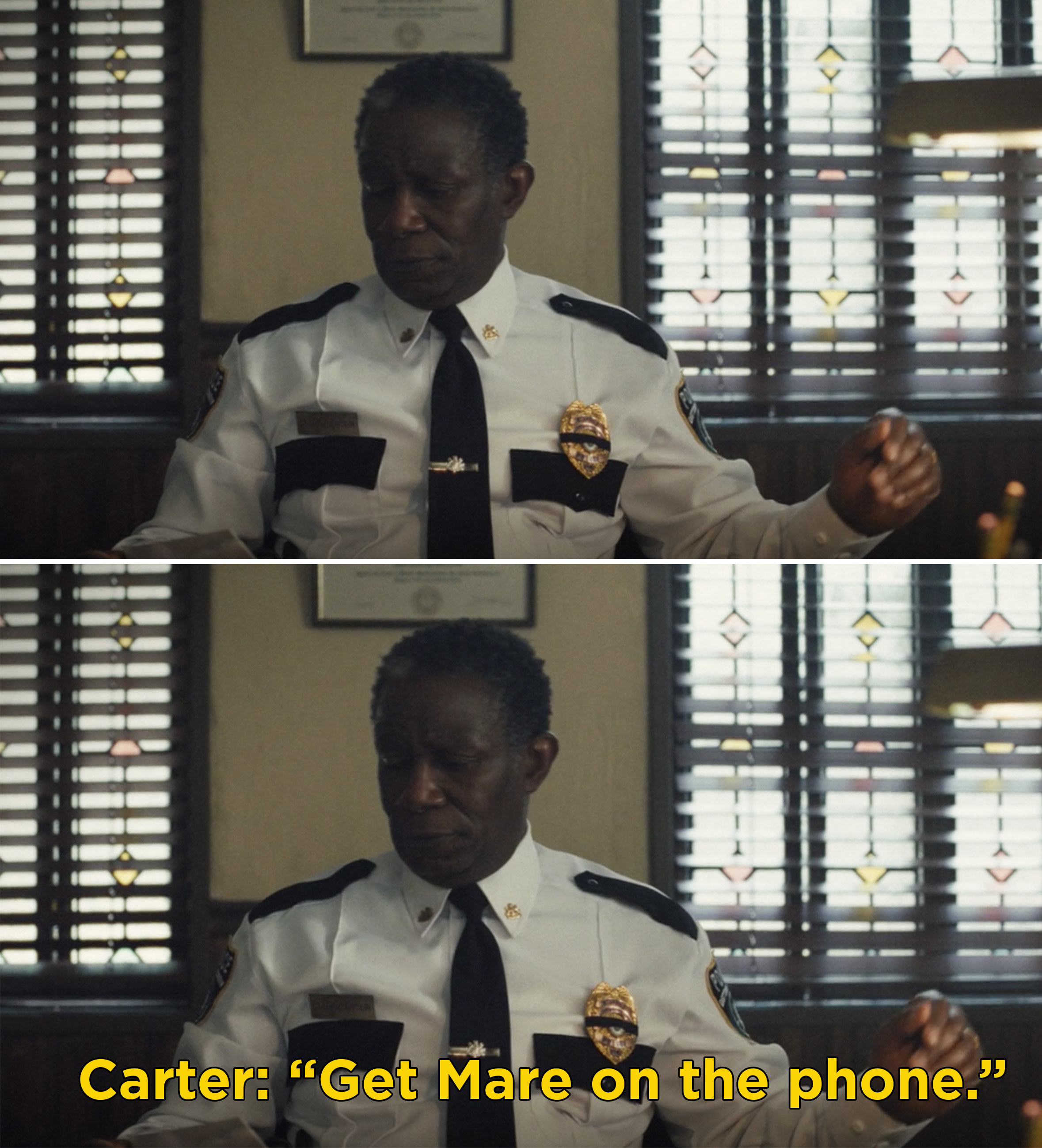 """Carter saying, """"Get Mare on the phone"""""""