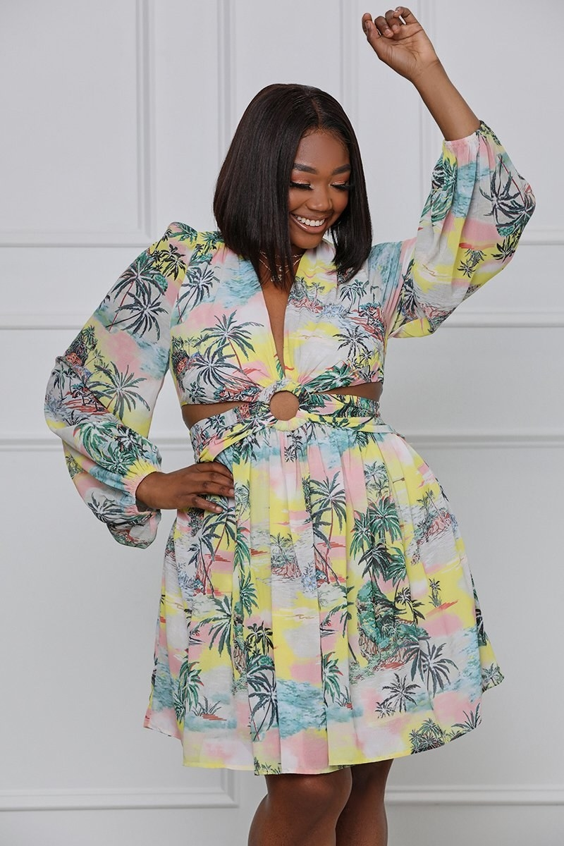 pastel dress with balloon sleeves and palm tree pattern