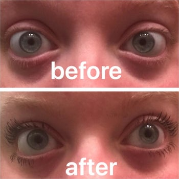 a before and after of a reviewer's lashes with and without the mascara, much more long and noticeable with