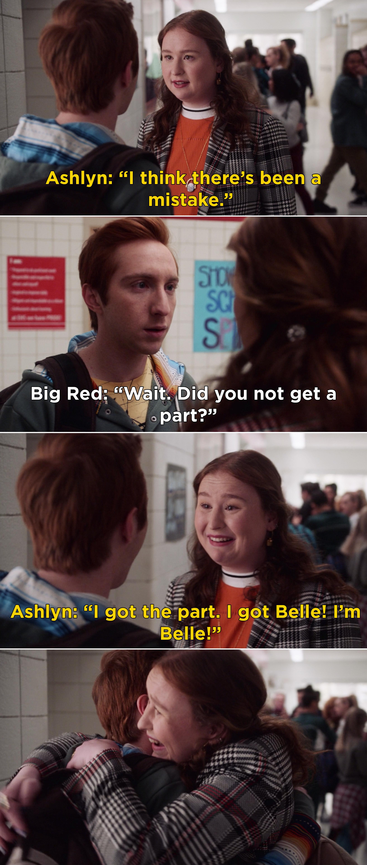 """Ashlyn hugging Big Red and saying, """"I got the part. I got Belle"""""""