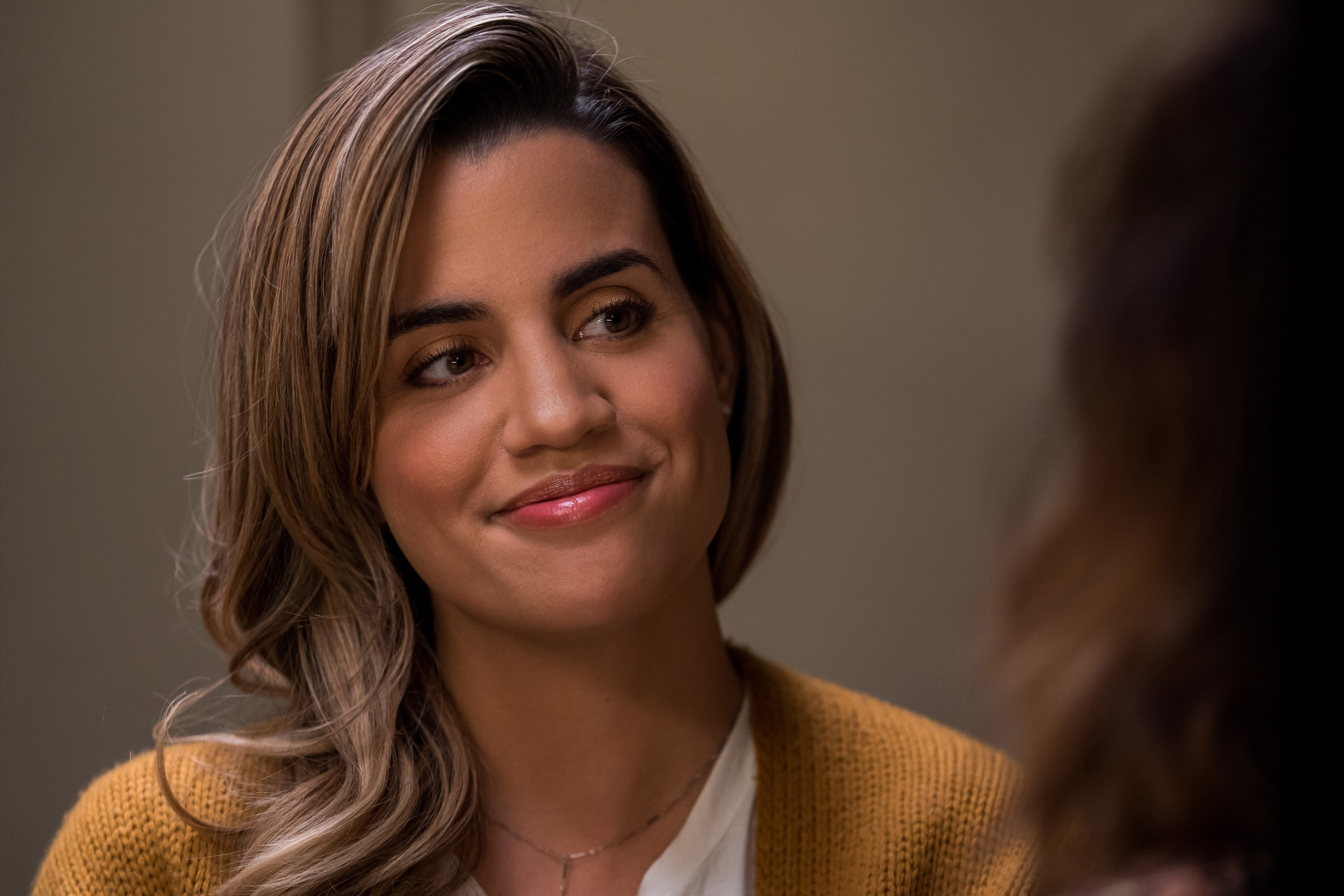 Natalie Morales on the set of Dead to Me