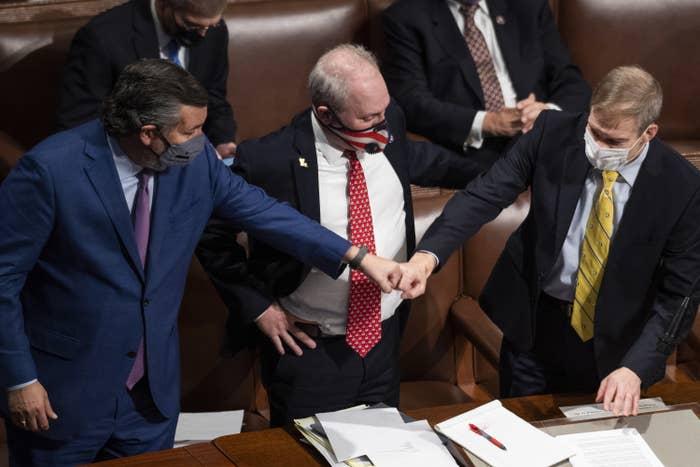 Ted Cruz fist-bumps Jim Jordan