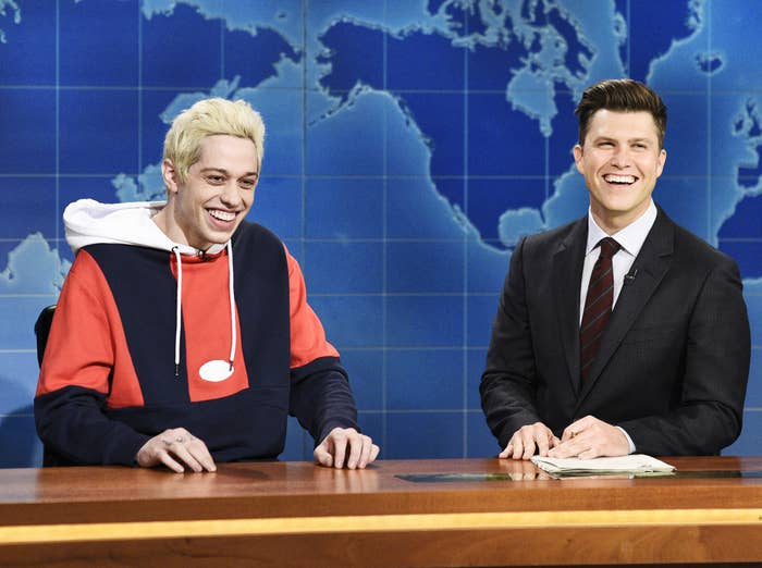 Pete and co-star Colin Jost appear on Weekend Update