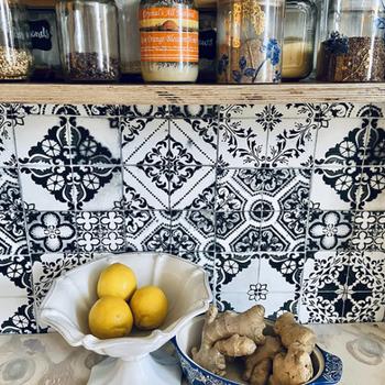 wallpaper applied to reviewer's kitchen backsplash