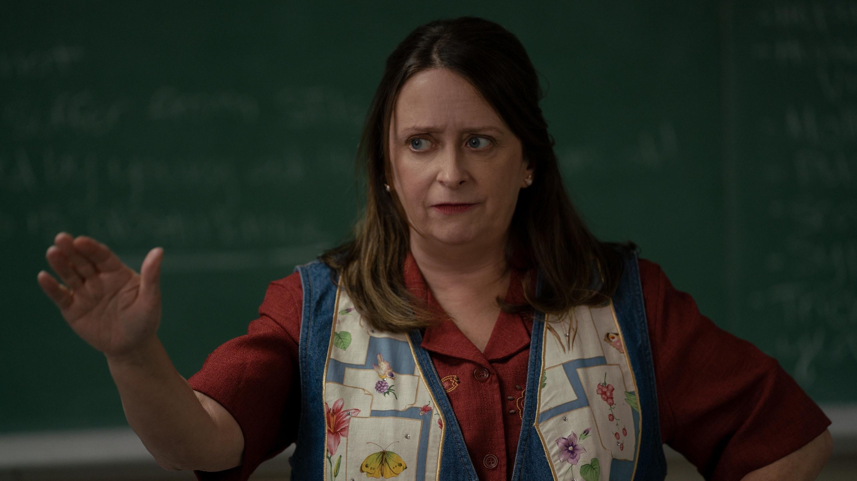 Rachel Dratch as a teacher wearing an ugly vest