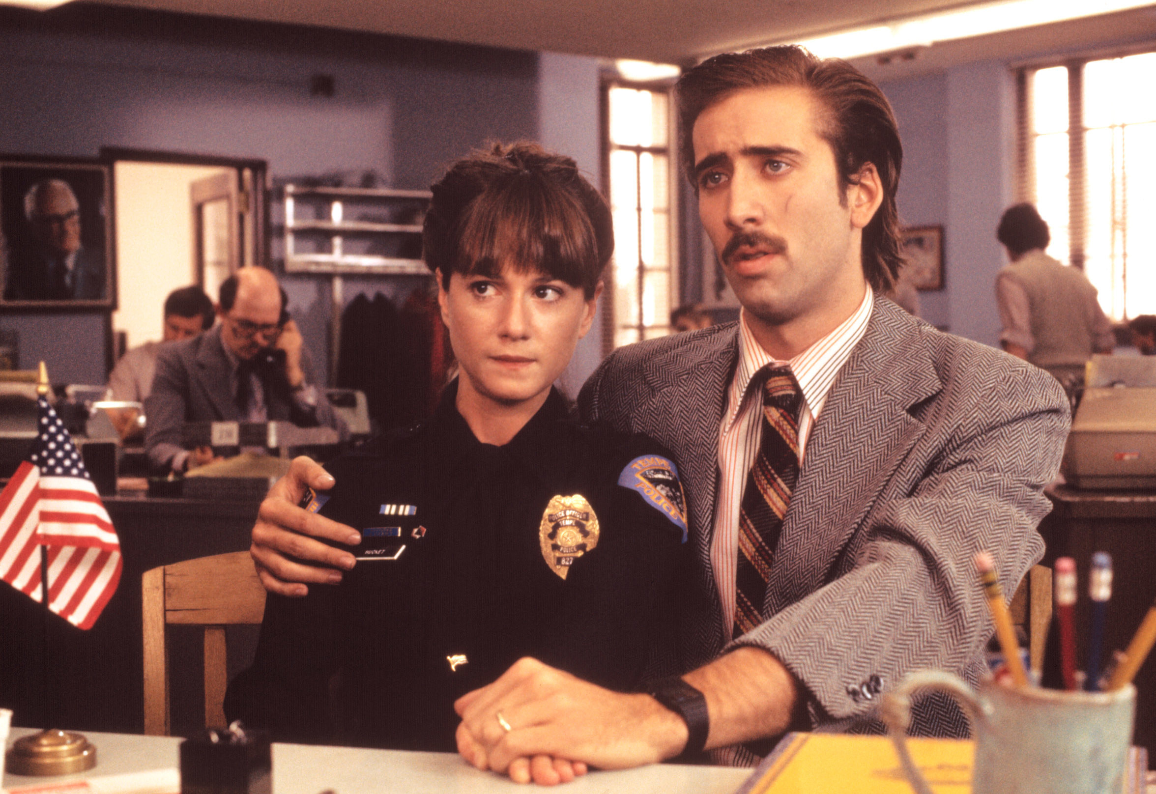 Holly Hunter and Nicolas Cage in Raising Arizona