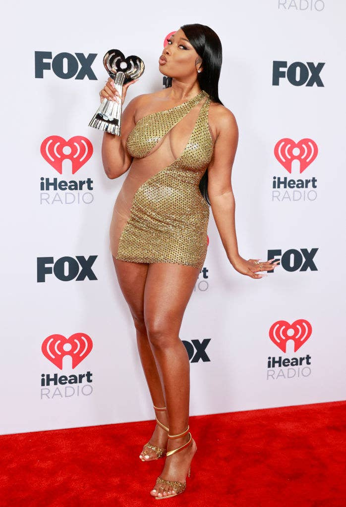 Megan Thee Stallion, winner of the Best Collaboration award for 'Savage' (Remix), attends the 2021 iHeartRadio Music Awards