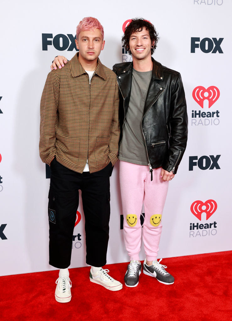 Tyler Joseph and Josh Dun of music group Twenty One Pilots attends the 2021 iHeartRadio Music Awards