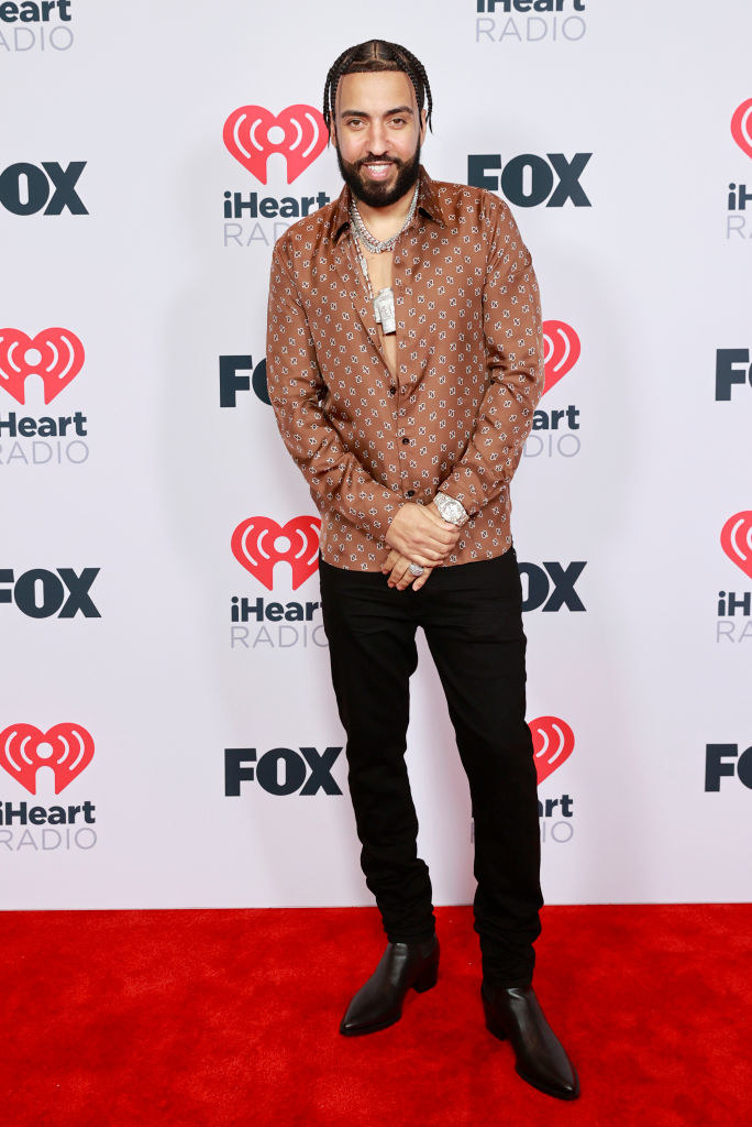 French Montana attends the 2021 iHeartRadio Music Awards in a satin top