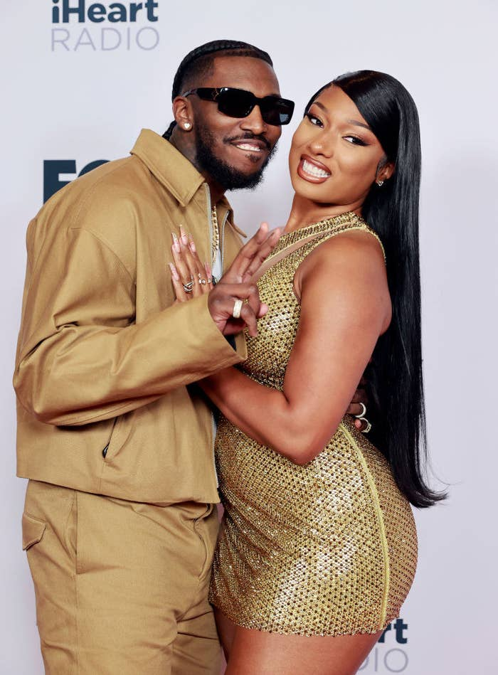(L-R) Pardison Fontaine and Megan Thee Stallion attend the 2021 iHeartRadio Music Awards