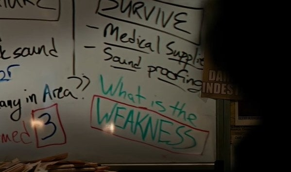 """A white board with the question """"what is the weakness"""""""