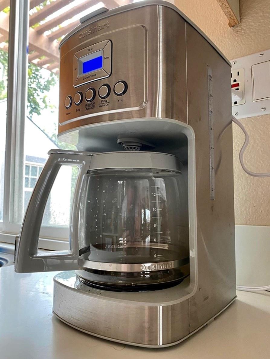 The Cuisinart coffee machine in silver