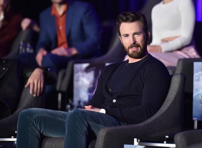 chris evans at The Avengers press conference in 2019