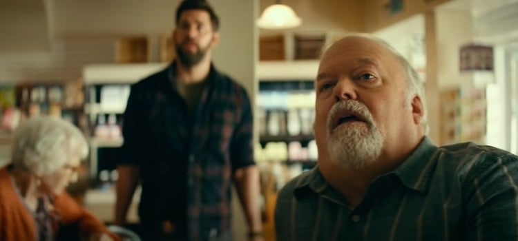 Lee Abbot in a store filled with people