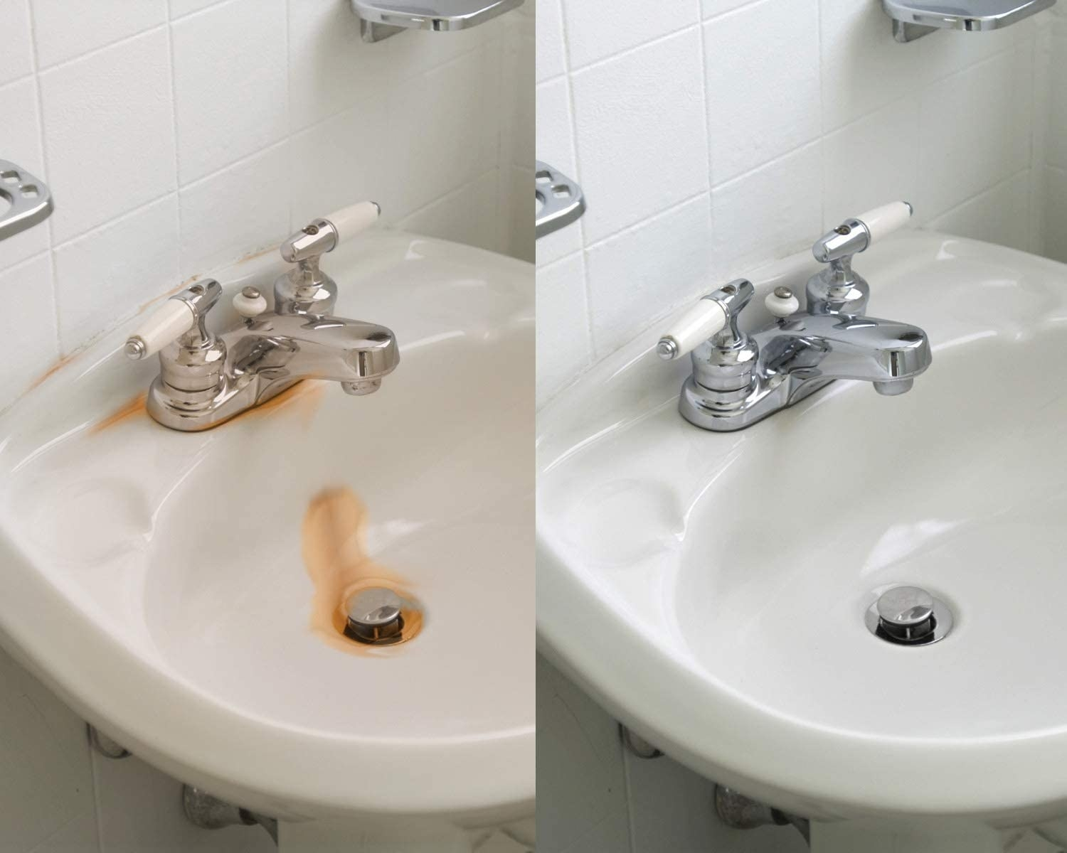Before-and-after showing sink with rust on the left side and clean sink on the right