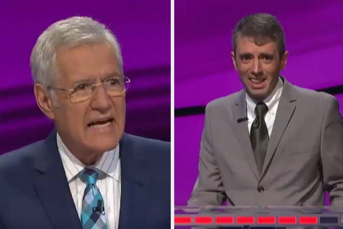 Host Alex Trebek and contestant looking confused
