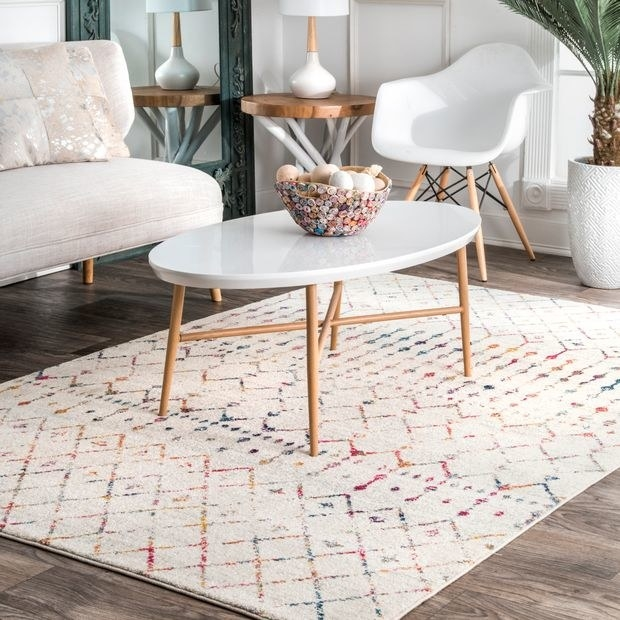 Light Multi Moroccan Trellis Area Rug placed in living room