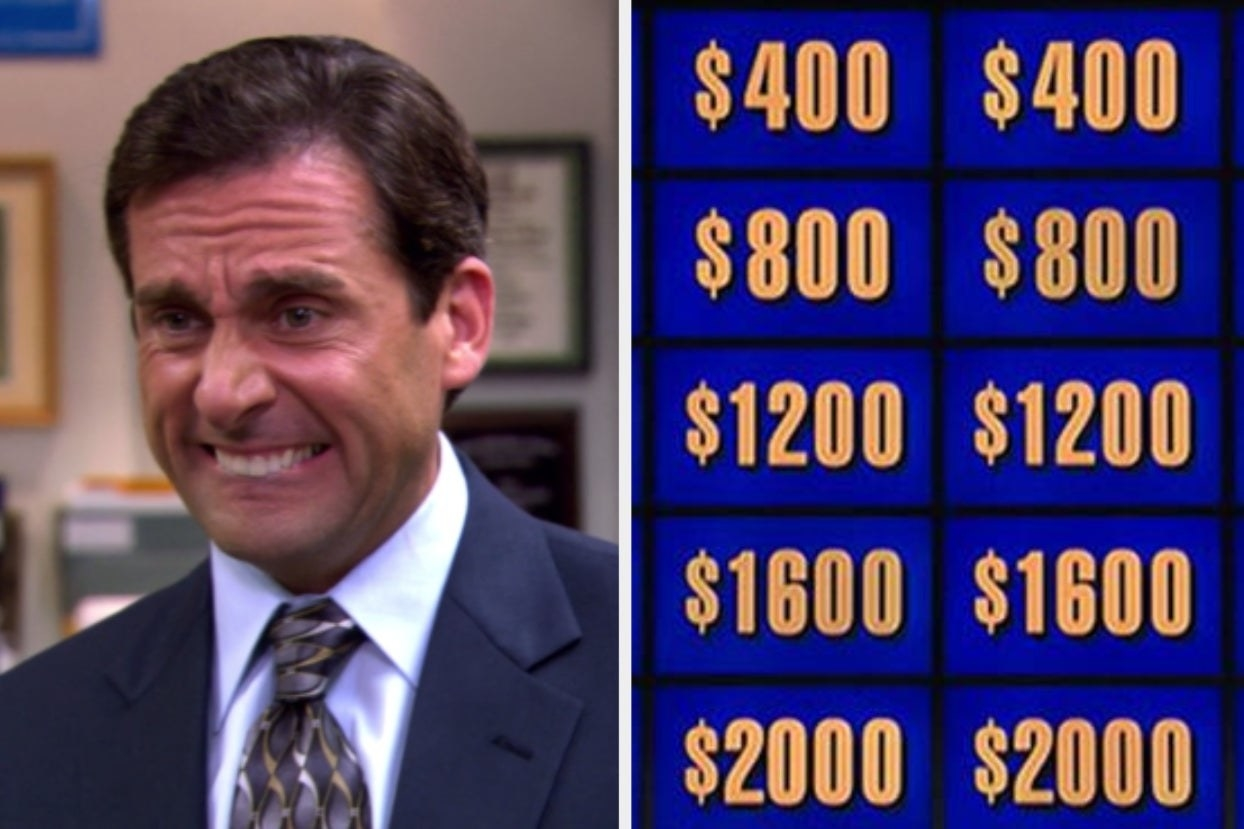 """Michael Scott from """"The Office"""" and the jeopardy board"""