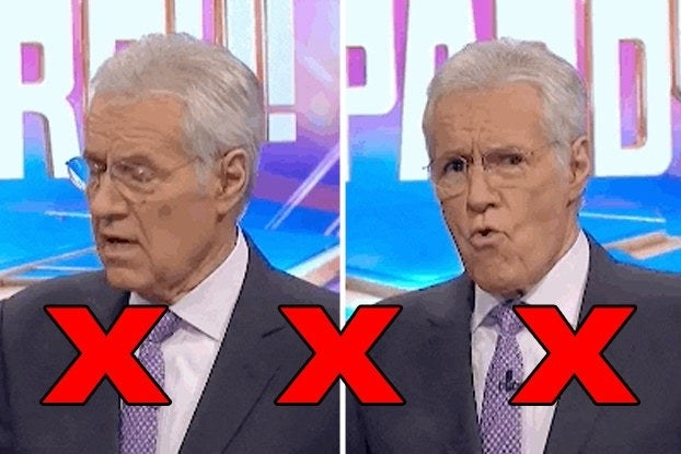 Alex Trebek with Xs looking shocked