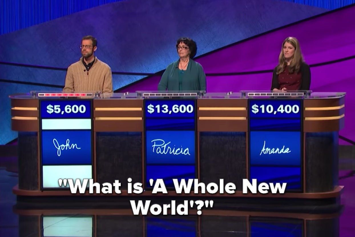 """Jeopardy contestants with the words """"What is 'A Whole New World'?"""""""