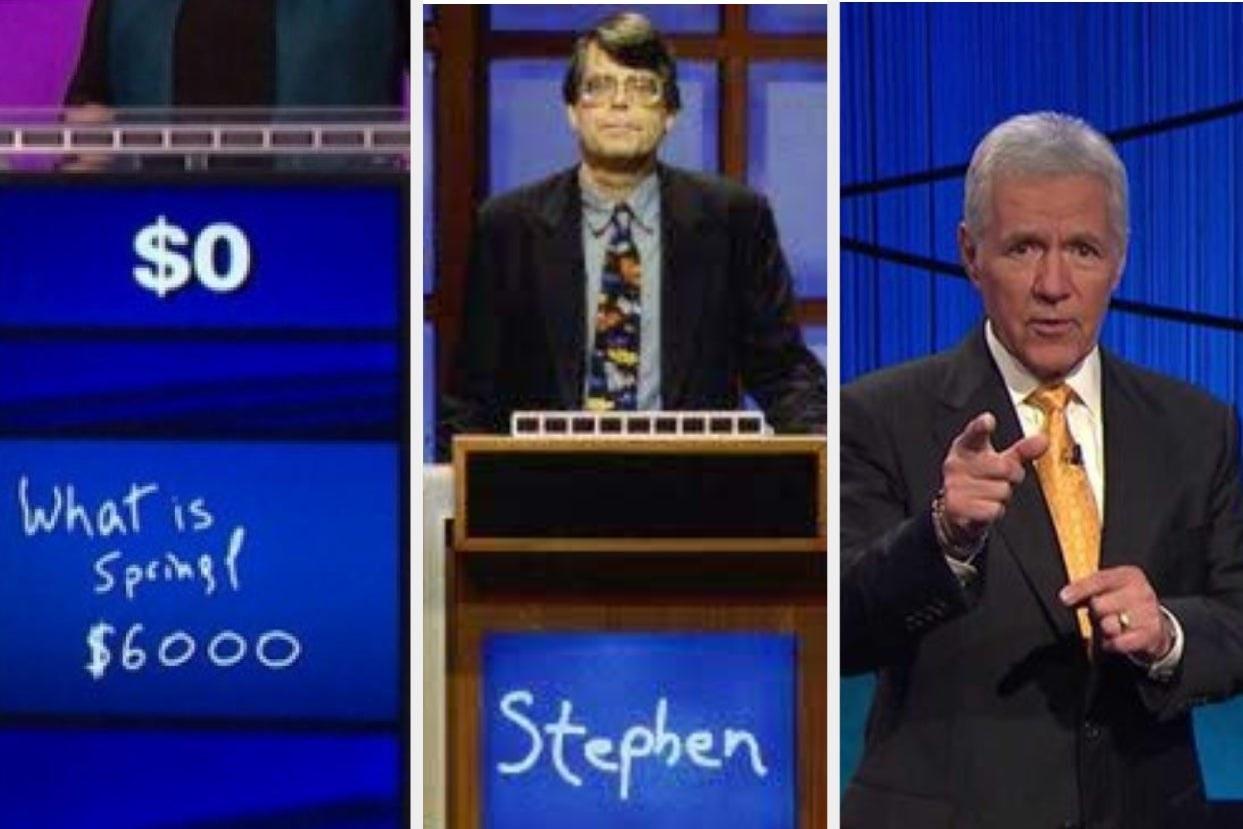 Jeopardy question, Stephen King in Jeopardy, and Alek Trebek