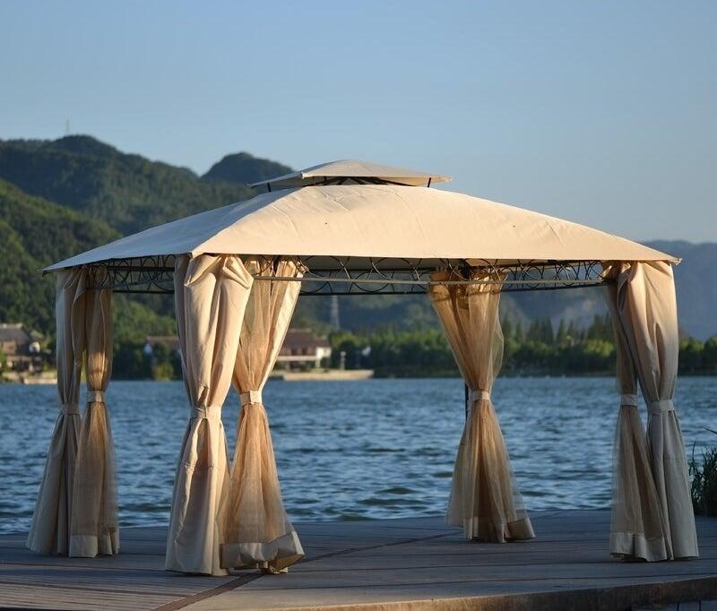 The gazebo by a lake