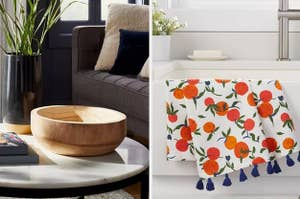 A wooden bowl on the left and an orange-print dish towel on the right