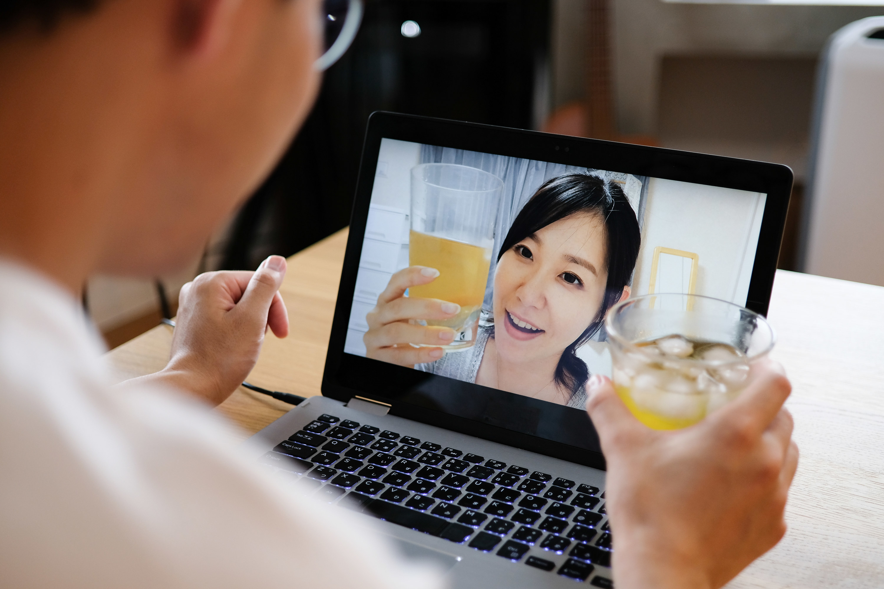 Photo of a couple on a virtual date