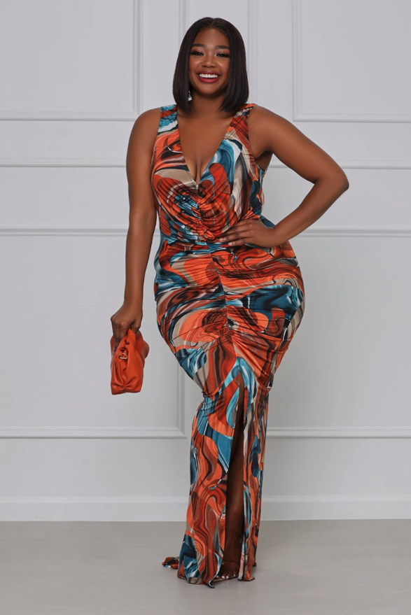 model wearing the blue and orange multicolor maxi dress