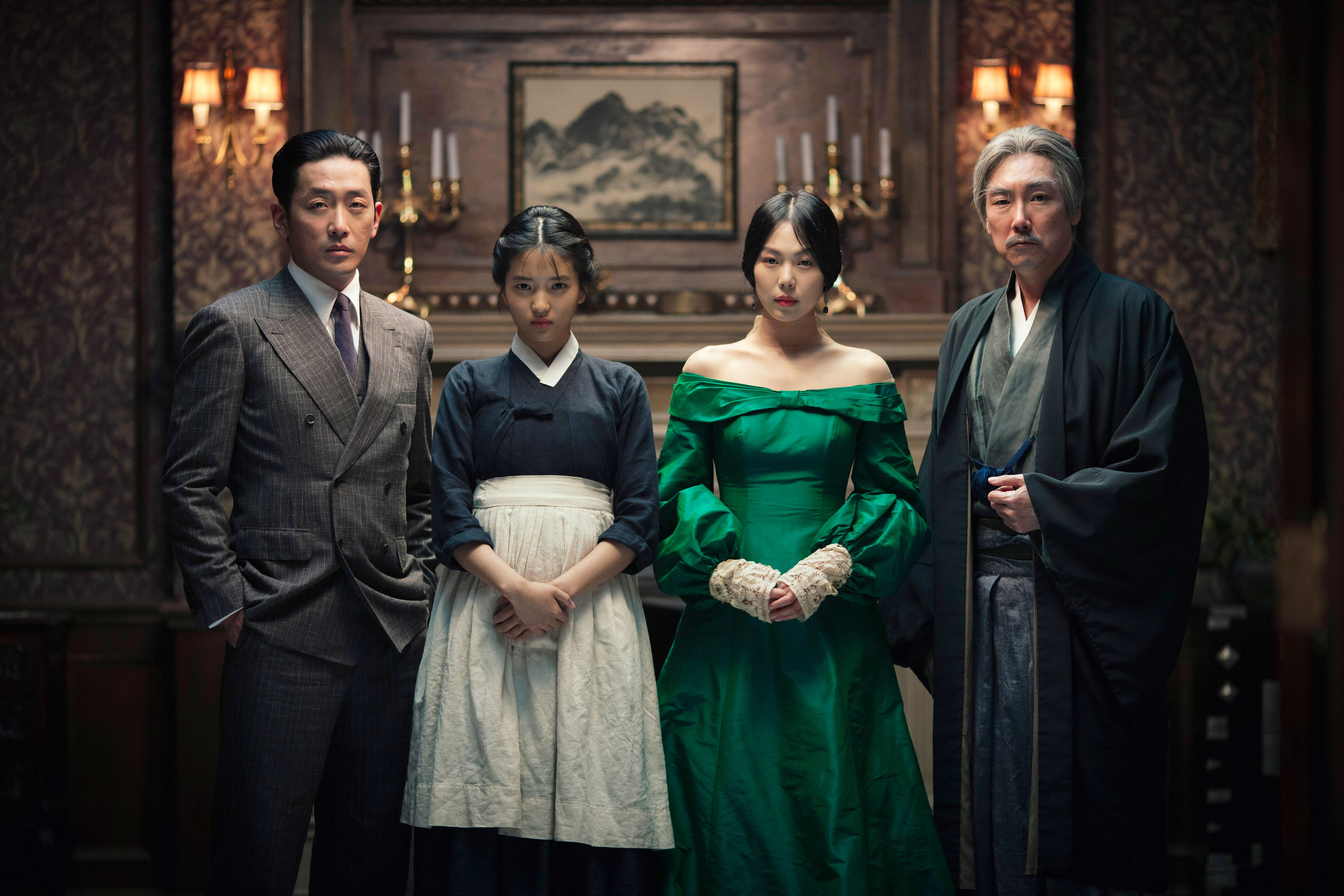 The count, the handmaiden, the heiress, and the uncle standing together