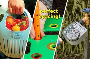 colander, seed spacer, and hose timer
