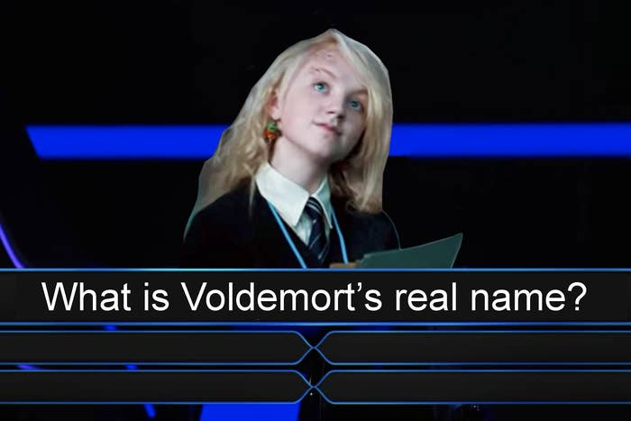 """Luna Lovegood with the words """"What is Voldemort's real name?"""""""