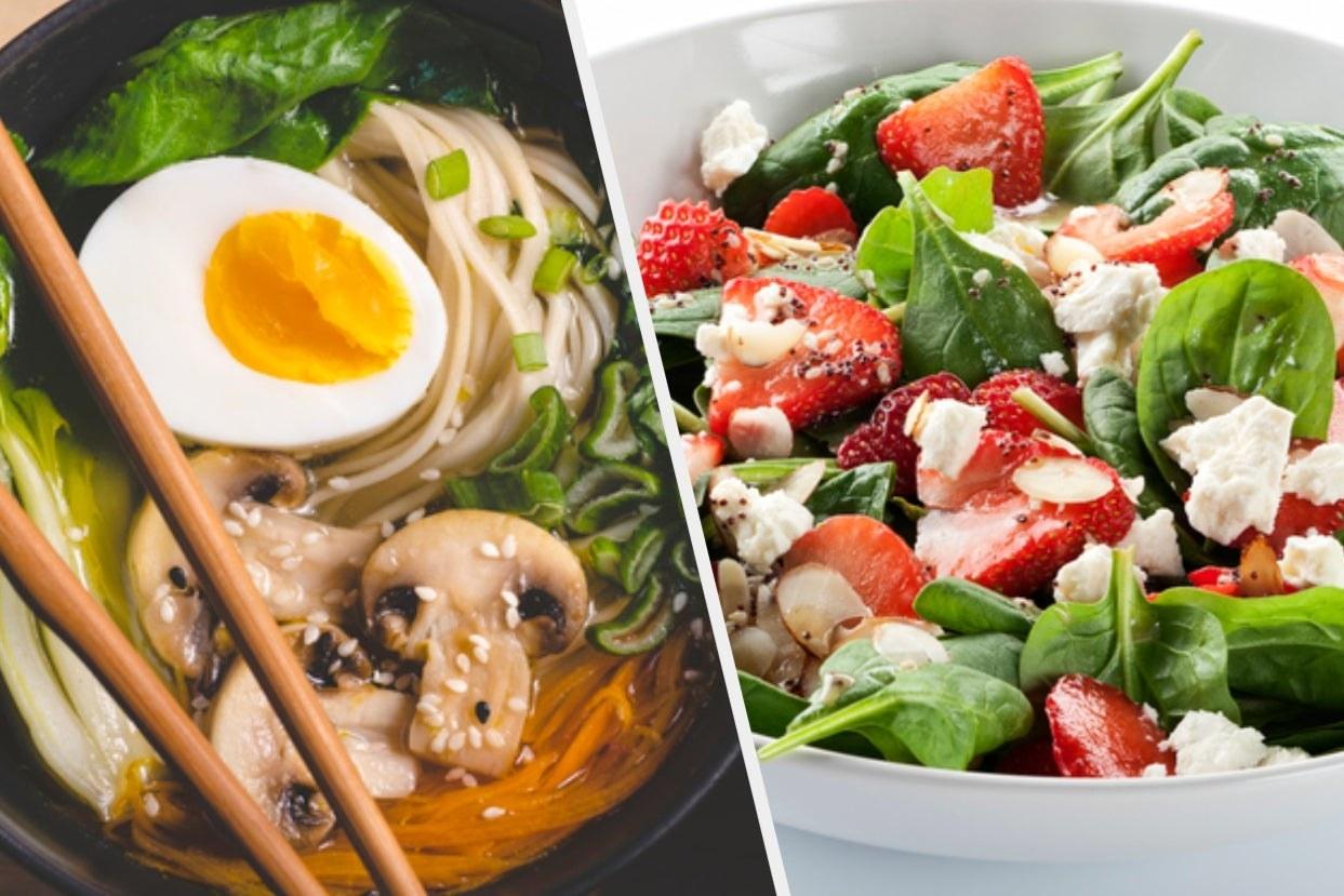 Ramen and spinach strawberry salad
