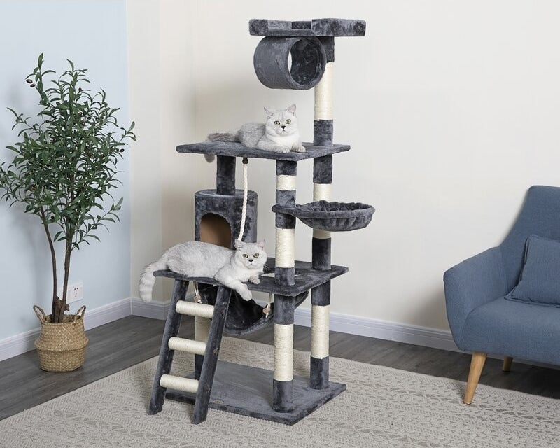 The cat tree in gray and white