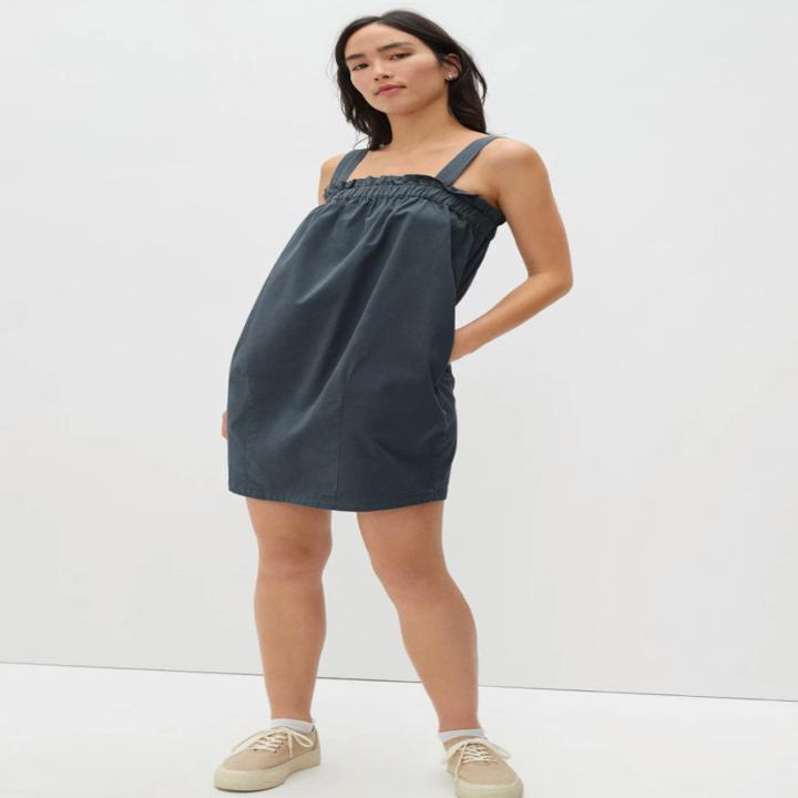 model wearing the dress in slate