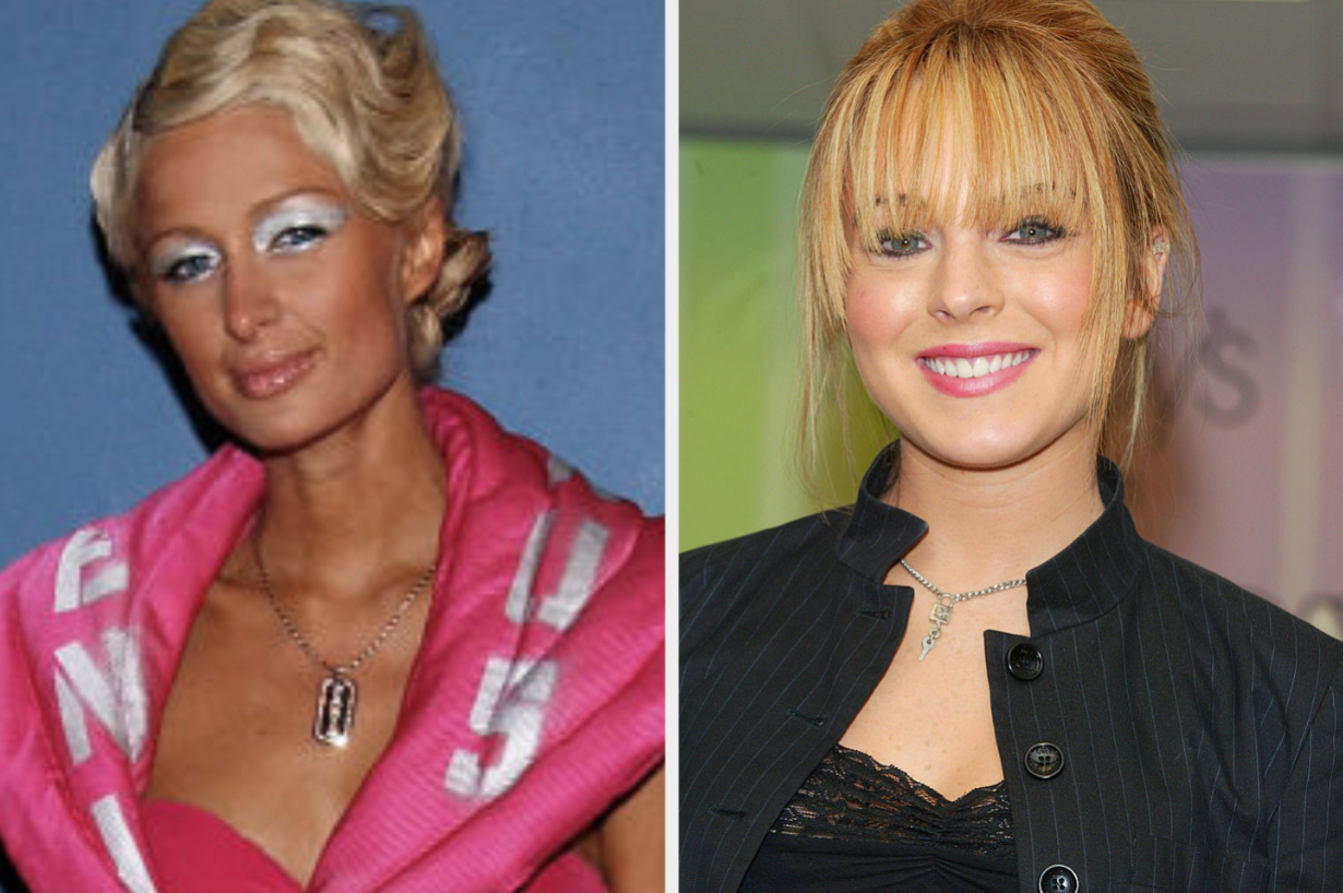 Paris Hilton with frosted eye shadow and Lindsay Lohan with black eyeliner