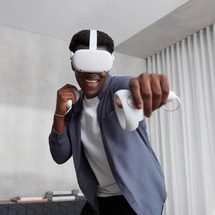 Model wearing the virtual reality headset