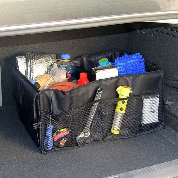 The filled organizer in a trunk
