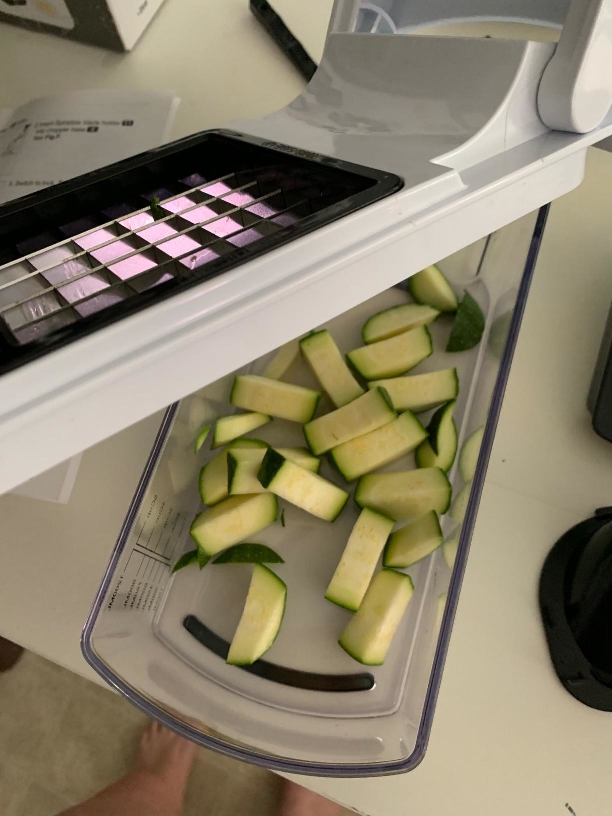 A reviewer photo of zucchini cut with the chopper