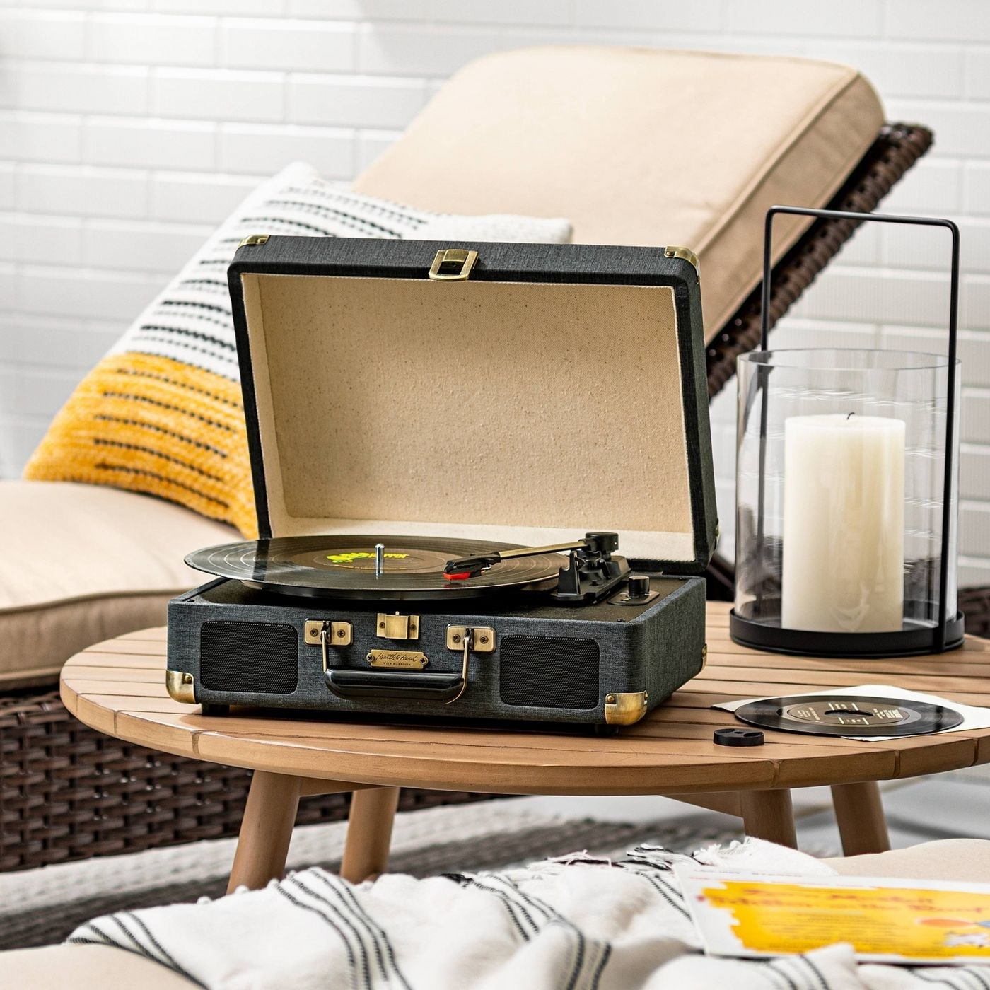 The Bluetooth compatible suitcase record player
