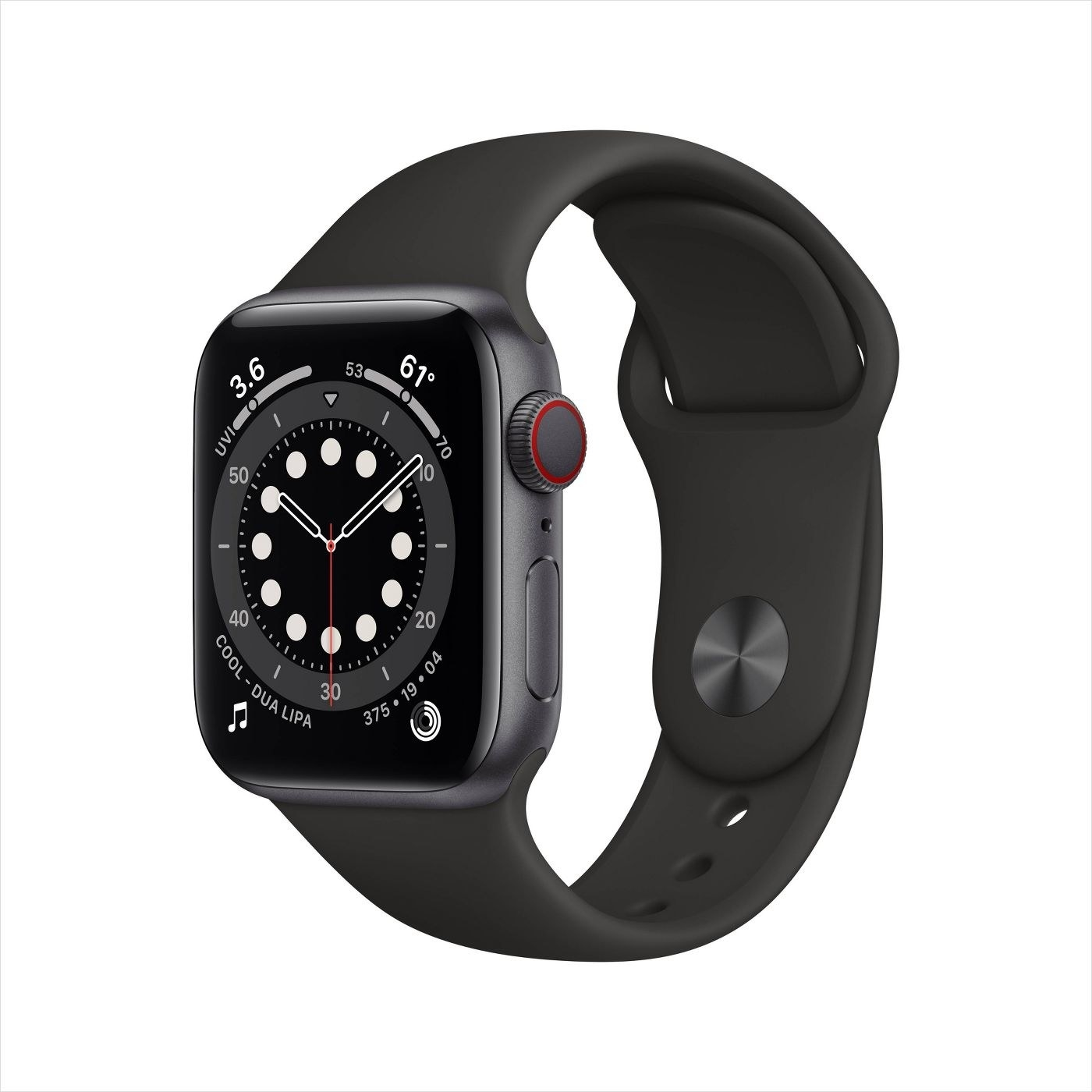 The space grey series 6 Apple watch