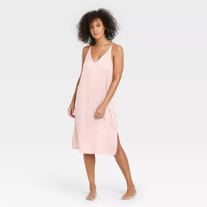 The pink, satin nightgown
