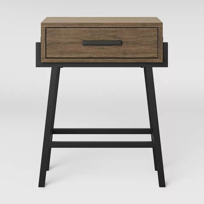 The wood and metal side table