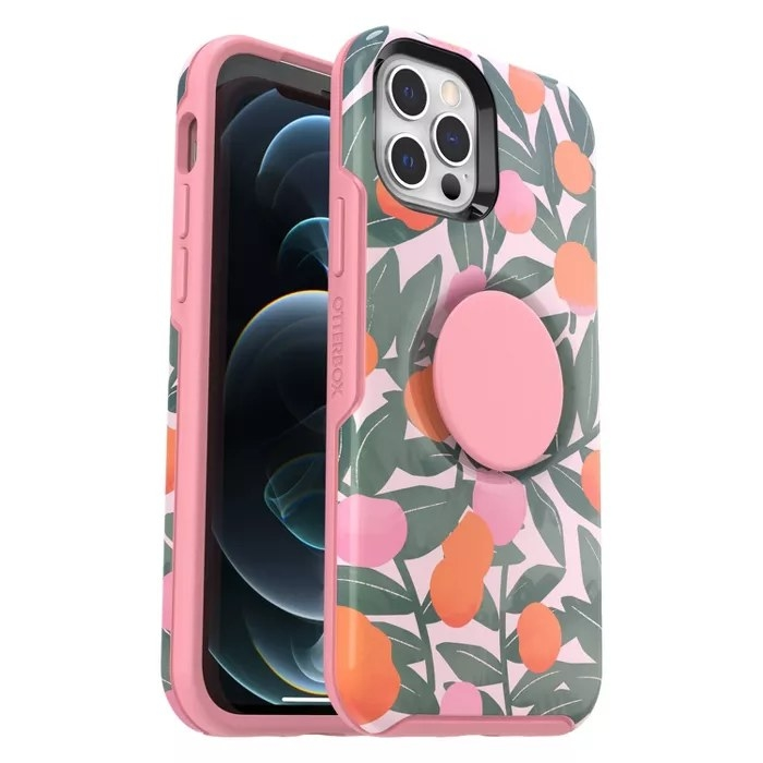 The pink Otterbox case with a peaches pattern and a pink Pop Socket