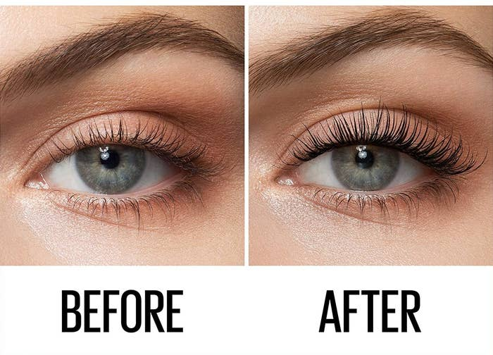 A before image of a person's eye without eye makeup and an after image of their lashes looking dramatically longer and fuller