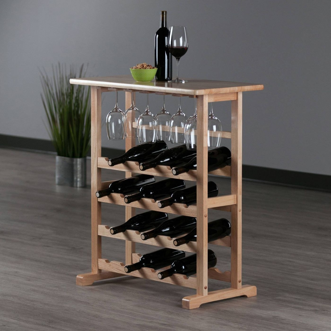 A wooden wine rack in a home