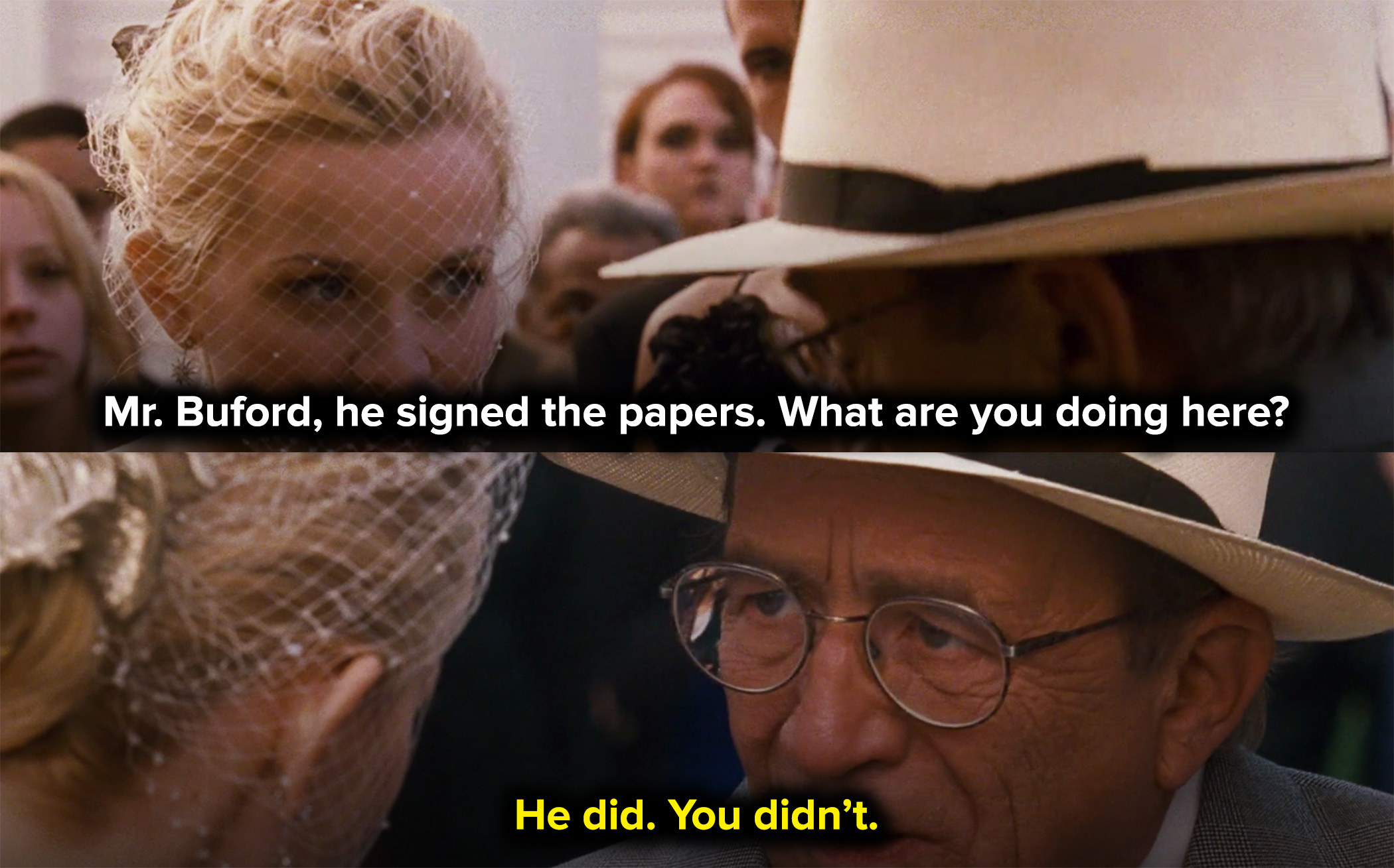 the lawyer stops the wedding to tell Melanie she didn't sign her papers