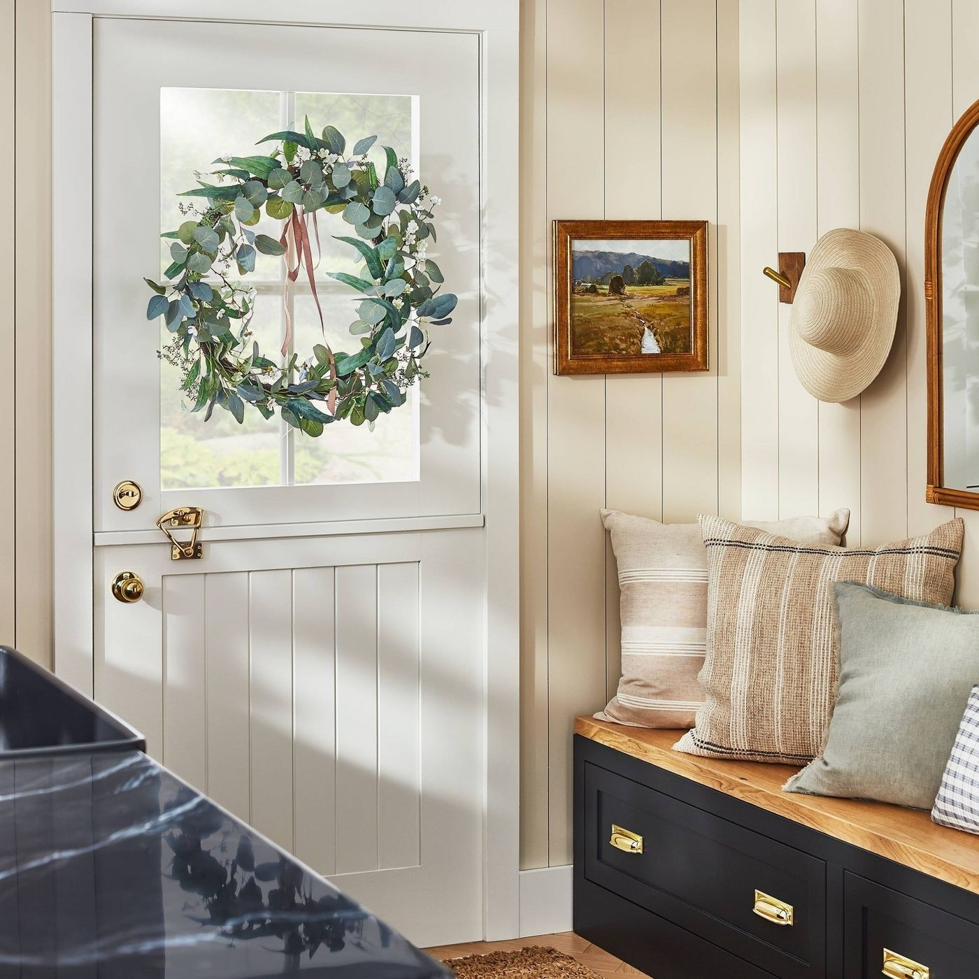 A wreath hung up in a home