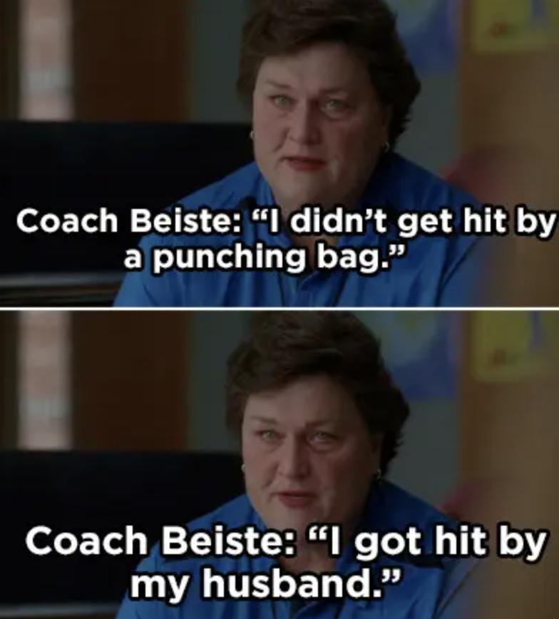 Coach Beiste revealing her husband hit her