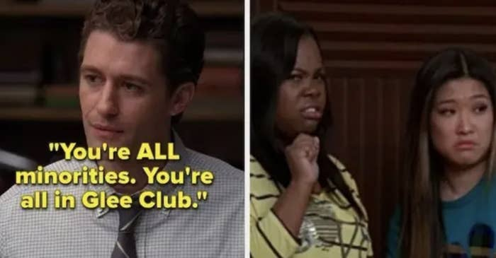 Mr. Schue telling The New Directions that they all all minorities because they're in the Glee club